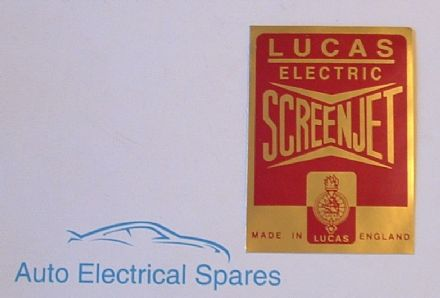 Lucas electric screenjet LABEL / STICKER / DECAL
